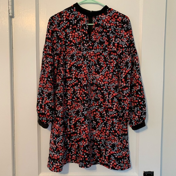 LOFT Dresses & Skirts - LOFT floral velour trim swing dress